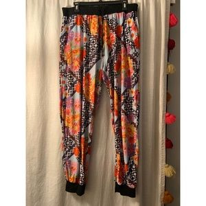 Floral checker joggers